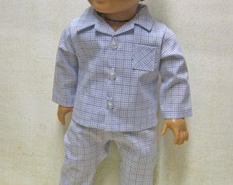"Blue Plaid Classic PJ Outfit for 18"" Boy Dolls"