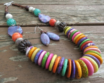 Multi Colored Magnesite Disc Necklace with Wood, Glass and Silver