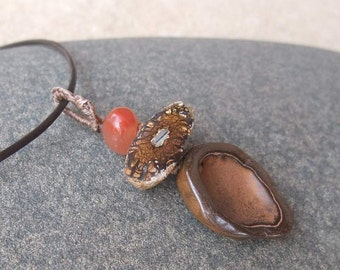 Boulder opal, Iron stone cave, Agate pendant necklace - handmade in Australia - earthy natural jewellery