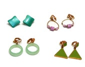 Lot of Vintage Clip On Earrings Vintage Drop Earrings Non Pierced Earrings For Women Vintage Costume Earrings Green Vintage Earrings