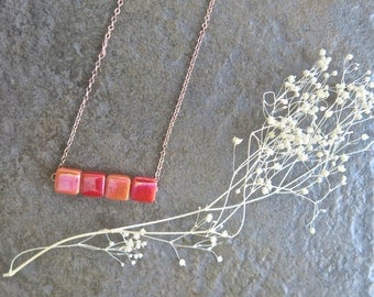 Rose Gold Horizontal Slim Bar Charm with Iridescent Tangerine and Red Square Glass Cabochons.