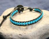 earthwrap : RIVER ROAD, mens bracelet beaded earthy rustic jewelry