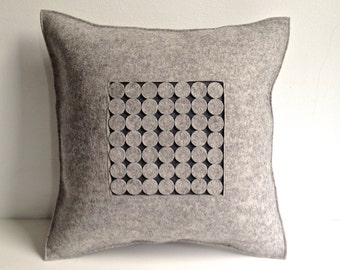 Gray Felt Pillow, Graphic Pillow, Gray Pillow, Grey Pillow, Contemporary Felt Pillow