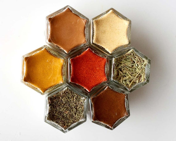 SUPER SPICE Kit:  Includes 7 Magnetic Jars Filled with Organic Antioxidant-Rich Spices to Help Fight Disease. Unique Gift.