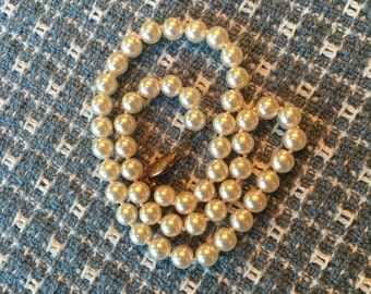 Vintage Glass Pearl Wedding Necklace 1960s