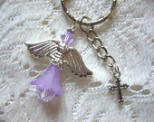 Lavender Crystal Guardian Angel Key Ring or Purse Bauble - Shipping Free In USA