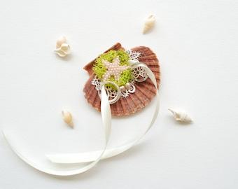 Alternative Seashell Ring Bearer  Pillow, Seashell Engagement Ring Holder, Nautical Beach Wedding Party, Hawaiian Wedding, Starfish, Mermaid
