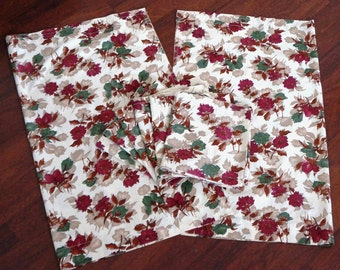 Vintage Floral Curtains Panels Valences Deep Pink Olive Green Tan Dahlias Country Cottage