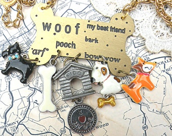 dog charm necklace assemblage upcycle shelter puppy pup