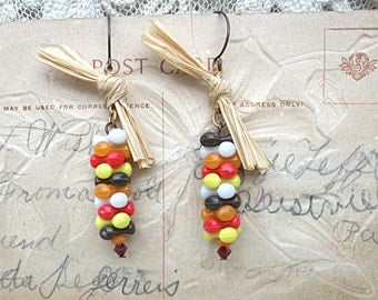 fall assemblage earrings upcycle indian corn style harvest upcycle