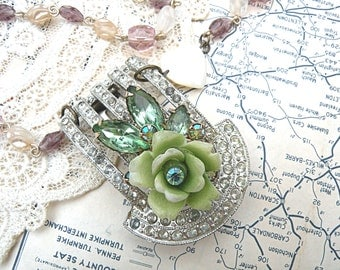 vintage assemblage necklace shabby chic mint green rose