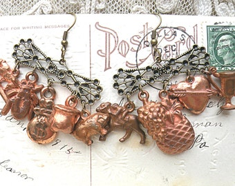 earrings random found gumball charm assemblage mismatch rustic coppery upcycle