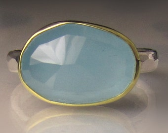Aquamarine Ring, Rose Cut Aquamarine Ring, 18k Gold and Sterling Silver, Aquamarine Cocktail Ring