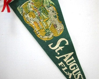 Large Vintage Pennant St Augustine Florida w/ Fountain of Youth Souvenir Felt Flag, Tourist Trap Family Vacatio, Green, Upcycle Craft Supply