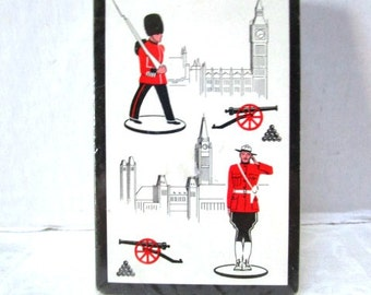 Vintage Playing Cards, Unopened Deck, London, England, Royal Guard, Big Ben, Cannon, Castle, Supplies, Game, Roadtrip Vacation