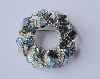 Vintage Emerald Cut AQUA BLUE And White Crystals Brooch Pin
