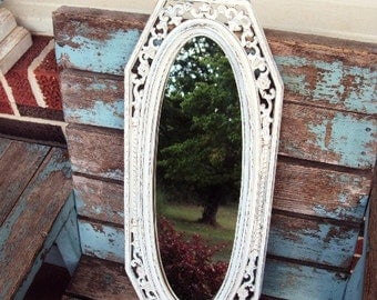 Vintage Shabby Chic Mirror Baroque Ornate Frame French Country Accent Mirror Distressed Chippy Antique off White Fleur de lis Syroco USA