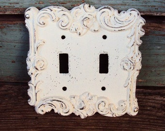 Vintage Shabby Chic Light Switch Cover Metal Plate French Chic French Provincial 1960s Distressed Antique White American Tack and Hardware