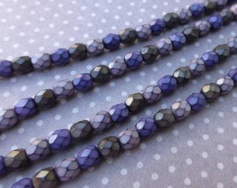 free UK postage - Fire polished beads 4mm Snake Beads Vineyard Mix - 38 beads per strand