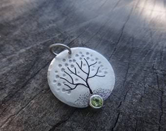 Blossom tree with peridot stone  in sterling silver pendant