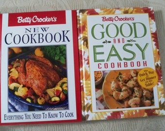 Vintage Book Cookbook Betty Crocker Kitchen Library Two Book Set Good and Easy & New Cookbook