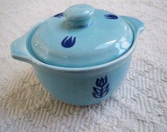 Vintage Home Kitchen Serving Bowl Cronin Aqua Tulip 1950's Kitchen Bowl with Lid