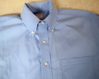 Vintage Men's Clothing Long Sleeve Shirt Blue Check Button Down Collar Brooks Brothers Size 15.5 - 2 / 3