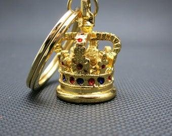 Royal crown Key Ring London England Gold Tones Metal