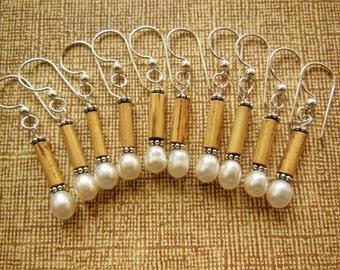 Kauai Bamboo Jewelry - Hawaiian Bamboo and White Pearl with Silver Earrings