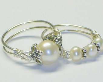 Purity Ring Set, Freshwater Pearl Solitaire and  Pearl Band, Sterling Silver, Sweet Sixteen Gift, Bridesmaids Gift
