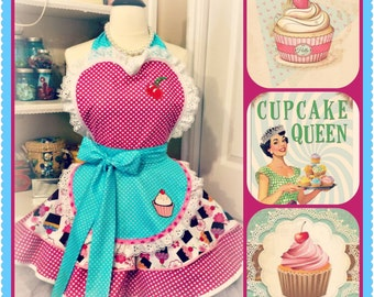 Cupcake theme woman's apron, sweetheart, baking, kitchen, full, pin up, retro, baking, kitchy,handmade
