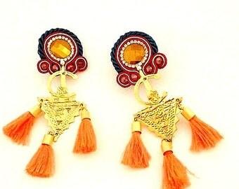 long tassel hippie earrings , berber fibule jewelry  , chandelier earrings , folk earrings , boho soutache jewelry , ethnic tassel earrings