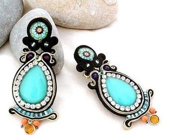 Trendy aqua coral earrings   leather back statement earrings   boho chic turquoise jewelry   turquoise teardrop earring   mediterranea style