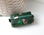 Green Floral Small Boxy Pouch Dark Green Coin Purse Forest Green Floral Change Purse Zipper Pouch