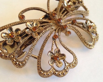 Vintage Large Filigree Butterfly with Amber Colored Rhinestones Hair Barrette or Clip