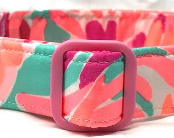 Lilly Pulitzer Fabric Dog Collar Love Birds Girl Boy Pink Peach Aqua