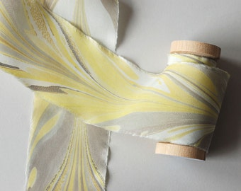 Marbled Silk Ribbon in Butter Yellow and Gray