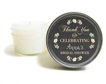 Set of 36 Unique Candle Favors - Bridal Shower Favors - Fall Wedding Favors - Custom Favors - Personalized Wedding Candle Favors