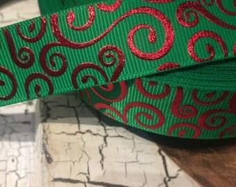 """3 yards 7/8"""" Christmas Metallic Red Foil Swirl Loop on Green Grosgrain"""