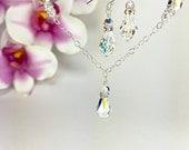 Bridesmaid Jewelry Gift Swarovski Crystal Necklace Teardrop Crystal Formal Jewelry Bridesmaid Necklace Earring Nickel Free Jewelry Chaney