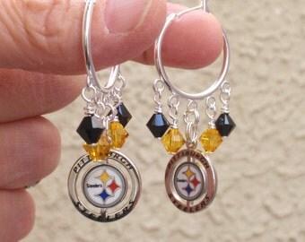 Pittsburgh Steelers Earrings, Steelers Bling, Black and Gold Crystal Hoop Earrings, Pro Football Steelers Jewelry Accessory Fanwear