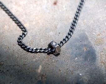Diamond Nuts-Geometric-Grange Pendant-Basic chain for man-Mens Basic necklace-Hexagon-Grange Necklace-Rugged chain-simple pendant for man-MJ