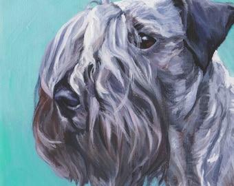 """Cesky Terrier dog art Canvas print of LA Shepard painting 8x8"""" portrait"""