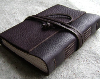 "Leather journal, rustic dark brown, 4"" x 6"", handmade journal by Dancing Grey Studio(1985)"