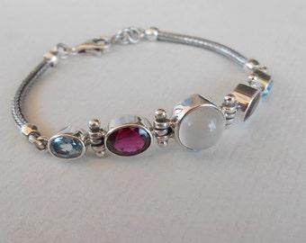 Balinese Chain sterling Silver gemstone Bracelet Moonstone Garnet  Topaz / Silver 925 / Bali handmade jewelry