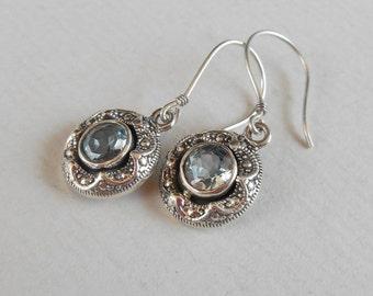 Awesome sterling silver Dangle Earrings Topaz / Silver 925 / Balinese Jewelry / 1.15 inch long (#2352e)