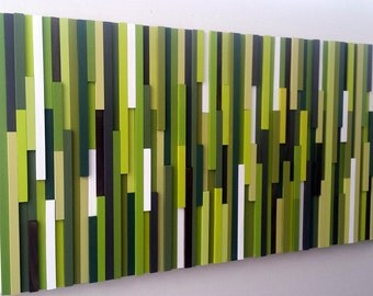 Green Wall Art, Abstract Wood Sculpture, Home Decor, Wall Hanging, Wood Wall Art