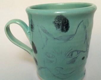 Turquoise Cat Mug with Dark Blue Spots