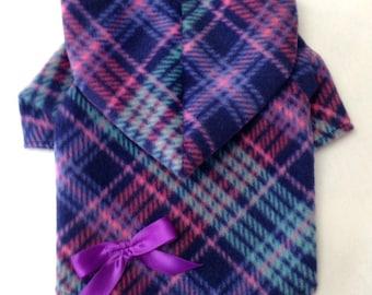 Purple Plaid Dog Hoodie Coat  by Doogie Couture Size XXXS through Medium