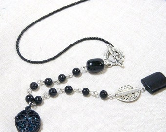 SALE 30% Necklace, Black Filigree Caged Aqua Blue N353